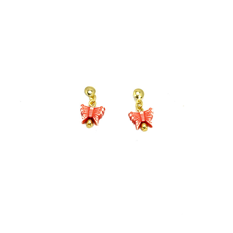butterfly red gold plated