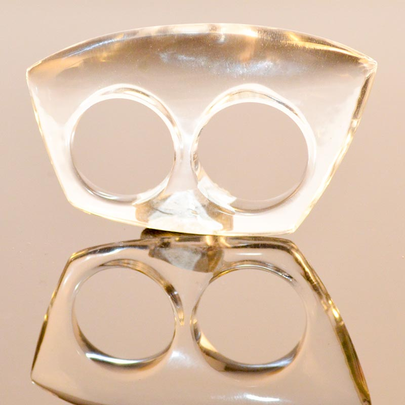 statement ring acrylic double ring for 2 fingers