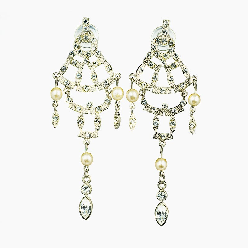 Moving Strass Earrings with faux pearls