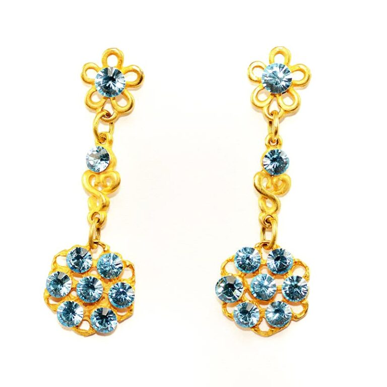 Gold colour earrings with Blue-swarovski-crystals