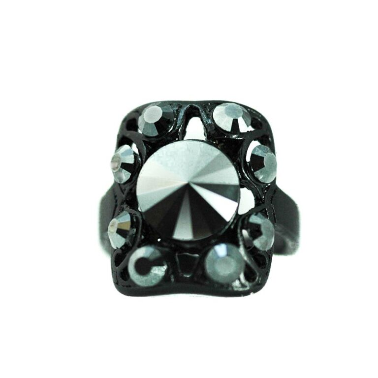 black gothic ring swarovski