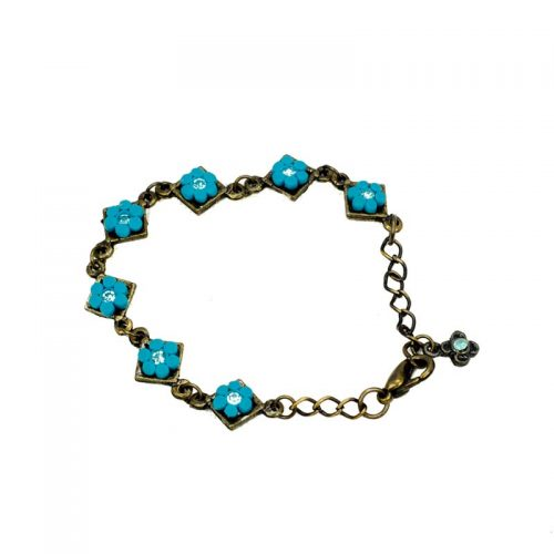 Flowers bracelet and strass blue