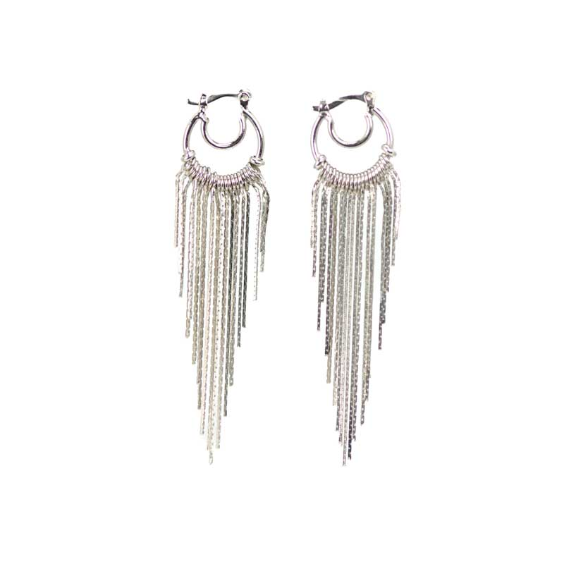 silver plated earrings with strings